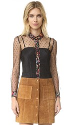 Red Valentino Flower Print Blouse Black