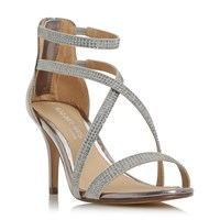 Head Over Heels Miley Cross Strap Diamante Sandals Pewter