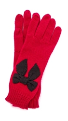 Kate Spade Sugar Plum Stitched Bow Gloves Dynasty Red
