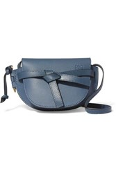 Loewe Gate Mini Textured Leather Shoulder Bag Storm Blue