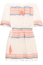 Lemlem Elsi Off The Shoulder Striped Cotton Blend Gauze Mini Dress Peach