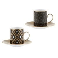 Wedgwood Arris Espresso Cup And Saucer Set Of 2 Geometric Honeycombe