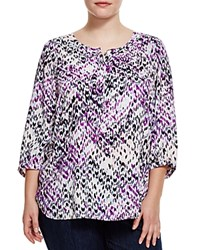 Nydj Plus Abstract Print Blouse Dream On Chevron Violetta