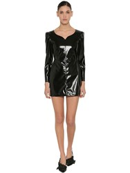 Msgm Vinyl Mini Dress Black