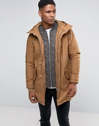 Pull And Bear Pullandbear Parka Jacket In Camel Tan