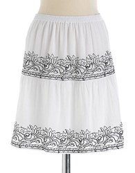 Lord And Taylor Plus Embroidered Cotton Skirt White