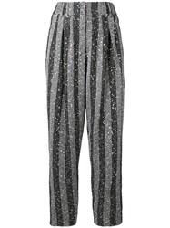 Balmain Sequin Embellished Tapered Trousers Silver