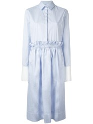 Victoria Beckham Striped Flared Shirt Dress Blue