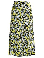 Joostricot Floral Intarsia Stretch Jersey Skirt Yellow Multi