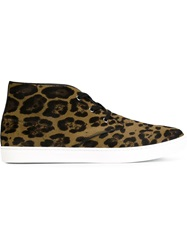 Dolce And Gabbana Leopard Print Hi Top Sneakers Nude And Neutrals