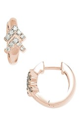 Dana Rebecca Women's Designs Double Arrow Diamond Hoop Earrings