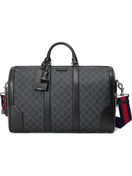Gucci Soft Gg Supreme Carry On Duffle Cotton Calf Leather Canvas Black