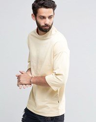 Only And Sons Sweat With Crew Neck 3 4 Sleeve Detail Angora Beige