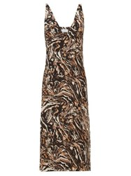 Raey Bust Cup Marbled Animal Print Silk Slip Dress Brown Print