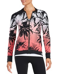 Trina Turk Graphic Baseball Jacket Tiger Lily