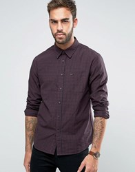 Lee Small Check Slim Fit Shirt Plum Purple