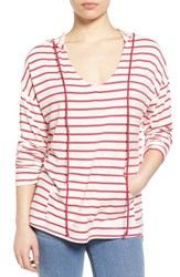 Women's Gibson Stripe V Neck High Low Hoodie Ivory Fuschia