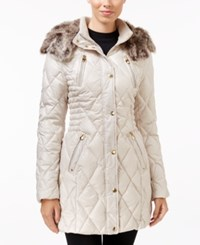 Laundry By Design Faux Fur Trim Quilted Puffer Coat Beige