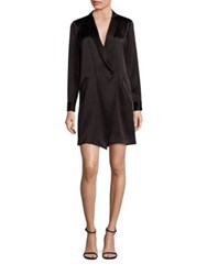 Halston Satin Shirtdress Black