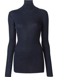 Erika Cavallini Semi Couture Turtleneck Ribbed Sweater Blue