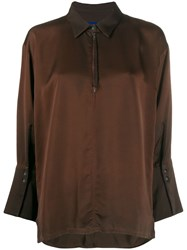 Ilaria Nistri Cropped Sleeve Shirt Brown