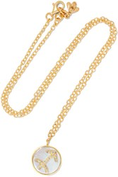 Carolina Bucci Sagittarius Lucky 18 Karat Gold Multi Stone Necklace One Size