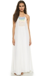 Mara Hoffman Linen Beaded Trapeze Dress White