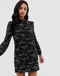 Fashion Union Shirt Dress In Floral Berry Floral Black