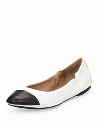 Delman Blair Cap Toe Ballet Flat White Black