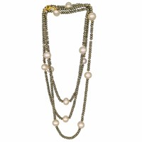 Plumeria Exclusive London Extra Long Pyrite And Pearls Necklace Gold