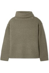 Alexander Wang Oversized Ribbed Wool Blend Turtleneck Sweater Army Green