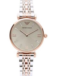 Emporio Armani Mixed Metal Stainless Steel Watch Silver Rose Gold Silver Rose Gold