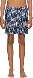 Onia Navy And White Calder Swim Shorts