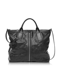 Francesco Biasia Harlem Caramba Leather Tote W Shoulder Strap Black