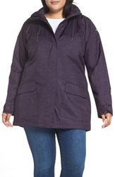 Columbia Plus Size Lookout Crest Omni Tech Waterproof Jacket Dark Plum Texture Print