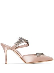 Manolo Blahnik Lurum 90Mm Crystal Embellished Mules Neutrals