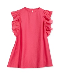 Il Gufo Ruffle Sleeve A Line Dress Pink Sizes 3T 4T