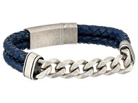 Steve Madden Stainless Steel Curb Chain W Blue Braided Leather Bracelet Silver Bracelet