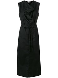 Christophe Lemaire Draped Neck Maxi Dress Black
