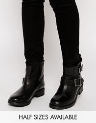 Selected Donna Buckle Black Leather Ankle Boots