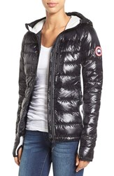 Women's Canada Goose 'Hybridge Lite' Slim Fit Hooded Packable Down Jacket Black Silver Birch