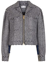 Sonia Rykiel Multi Lacquered Tweed Short Jacket Navy
