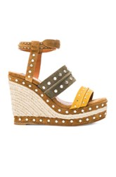 Lanvin Studded Suede Wedge Sandals In Yellow Green Nneutrals