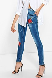 Boohoo Floral Embroidered Skinny Jeans Mid Blue