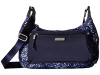 Baggallini New Classic Out And About Bagg With Rfid Phone Wristlet Indigo Floral Bags White