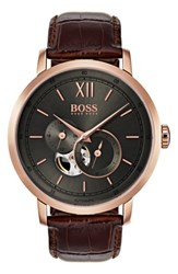 Boss Men's Signature Automatic Leather Strap Watch 44Mm Grey Brown