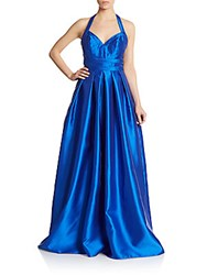 Carmen Marc Valvo Infusion Mikao Pleated Halter Gown Royal Blue