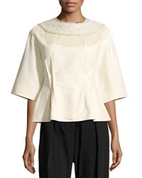 Dries Van Noten Conder Embroidered Half Sleeve Top Neutral Neutral Pattern