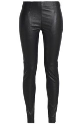 Oak Leather Skinny Pants Black