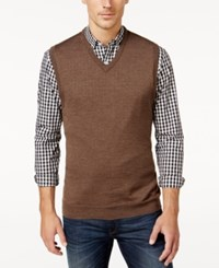 Club Room Men's Big And Tall V Neck Merino Wool Sweater Vest Only At Macy's Dark Taupe Heather